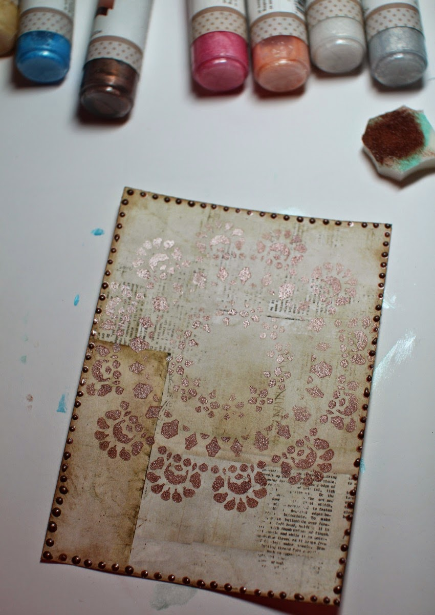 Pearlescents tutorial by Ilene Tell using BoBunny stencils