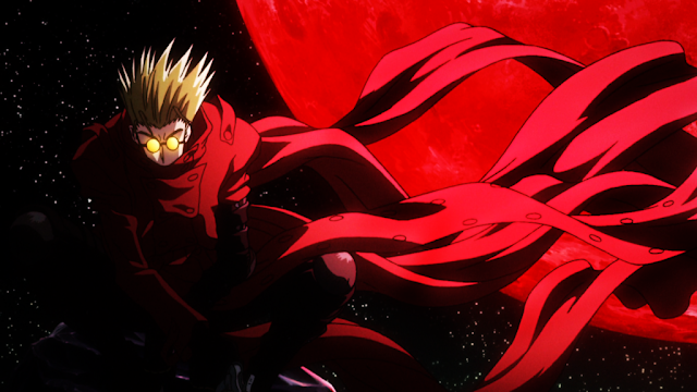 Vash Stampede of Trigun anime wearing red cloak