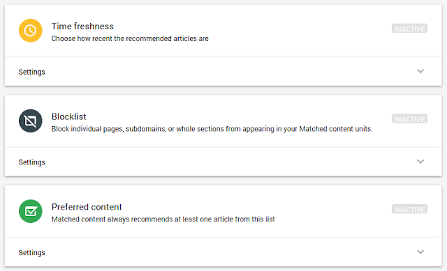 Time freshness, Blocklist, Preferred content matched content settings
