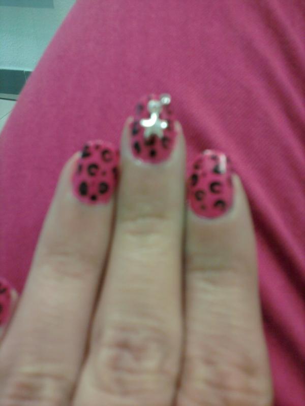 Nail Art Piercing Para Uñas Diseño Leopardo Rosa