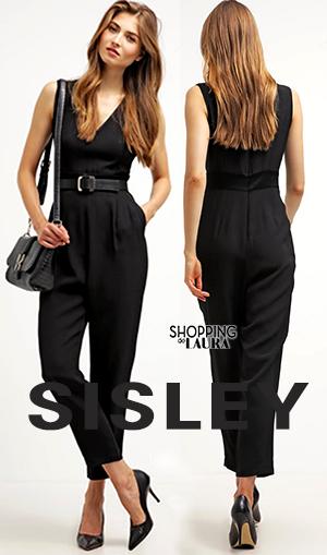 Combinaison pantalon femme noire Sisley