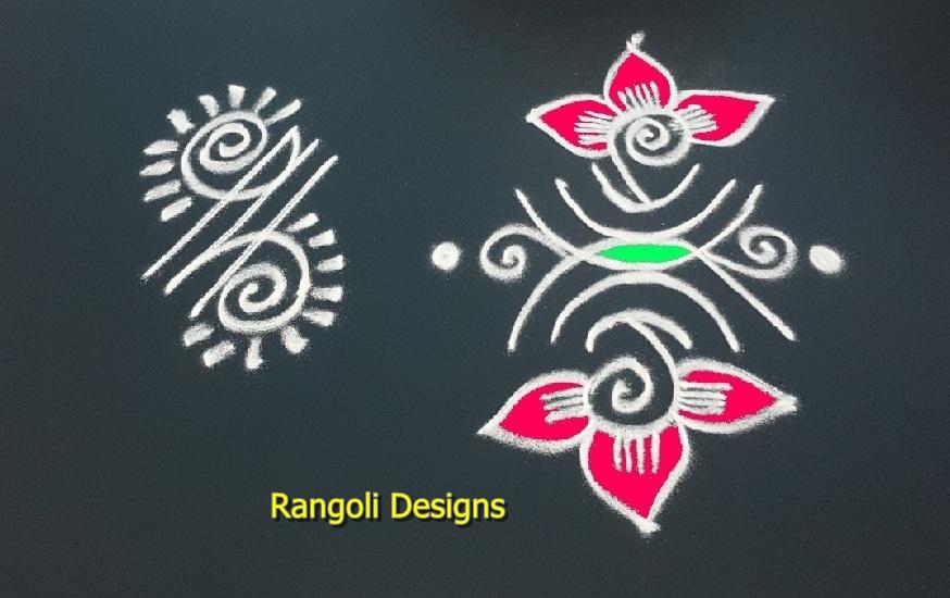 Simple border rangoli * side border muggulu designs* vasal padi kolam * door way rangoli & Dots Rangoli: sikku kolam designs with dots