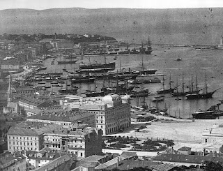 The harbour of Trieste in 1885, when it was still under the control of Austria
