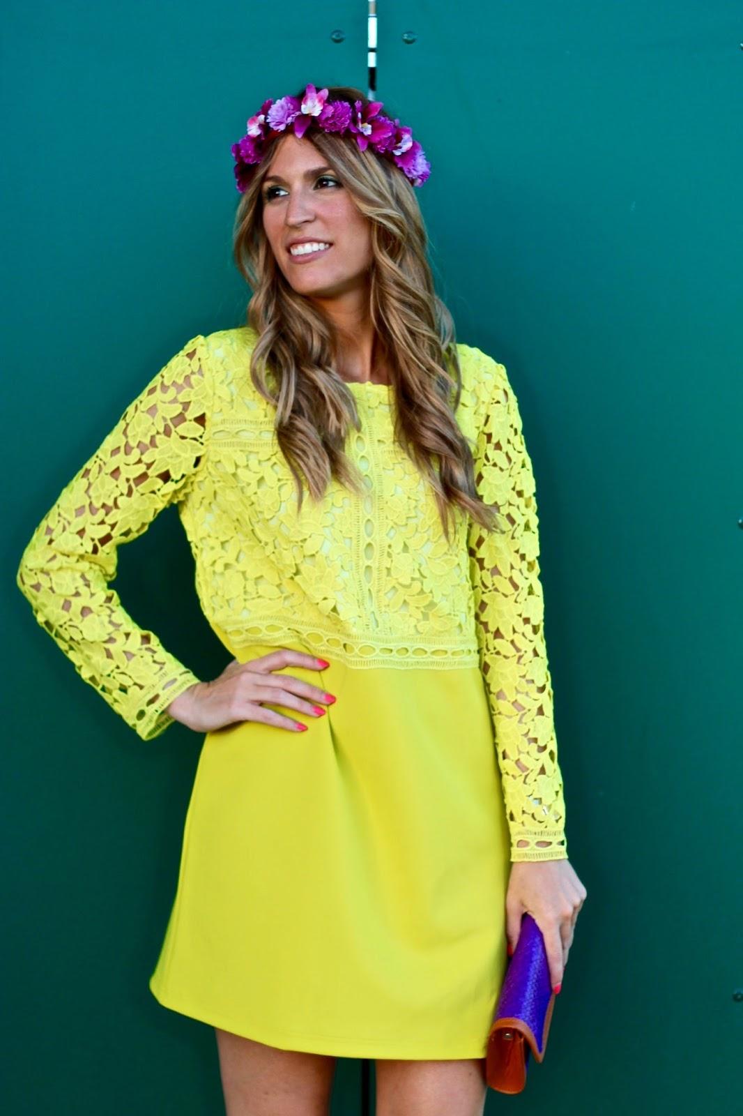 vestido fiesta amarillo lima