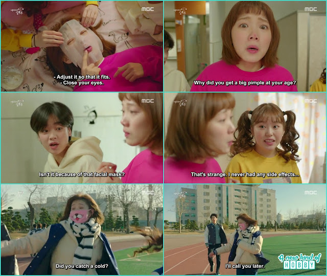 after the potato mask a pimple appear on th enose of bok joo - Weightlifting Fairy Kim Bok Joo: Episode 14