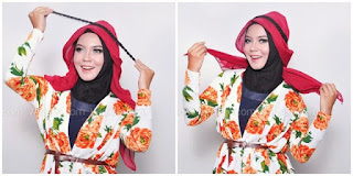 Hijab Tutorial : Cantik Mewah Berkerudung Merah 3