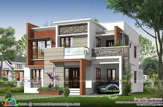 Box model contemporary house with 4 bedrooms