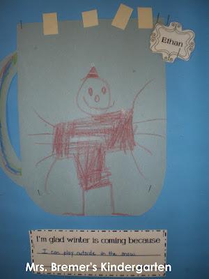 Winter hot chocolate bulletin board for Kindergarten
