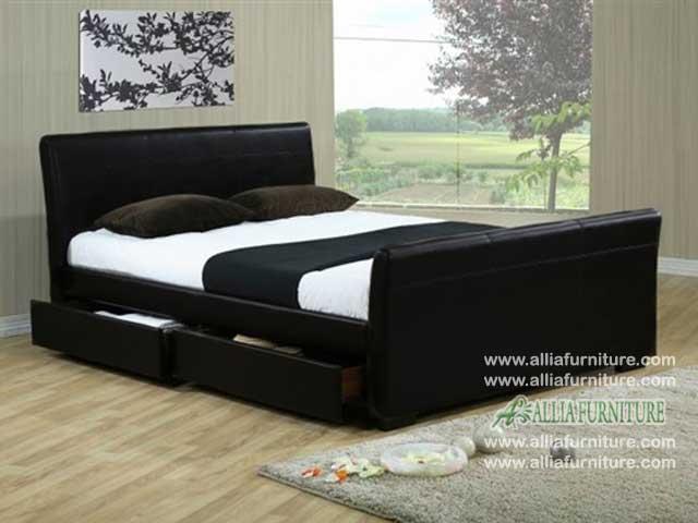 tempat tidur lapis kulit minimalis milan