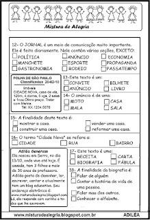 Avaliação tema gêneros textuais