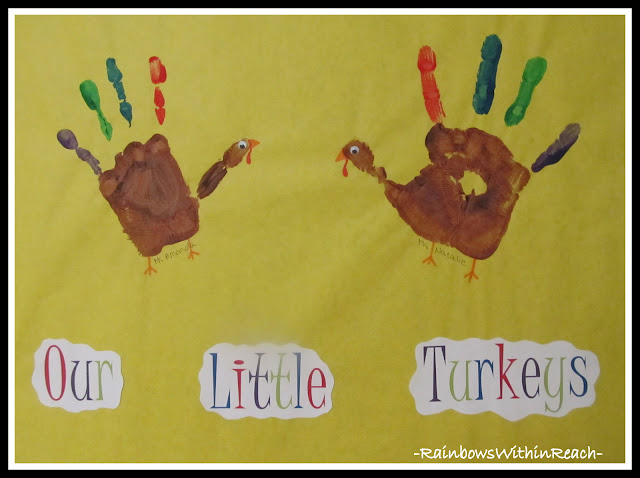 photo of: Our Little Turkeys: Painted Handprints (Thanksgiving RoundUP via RainbowsWithinReach)