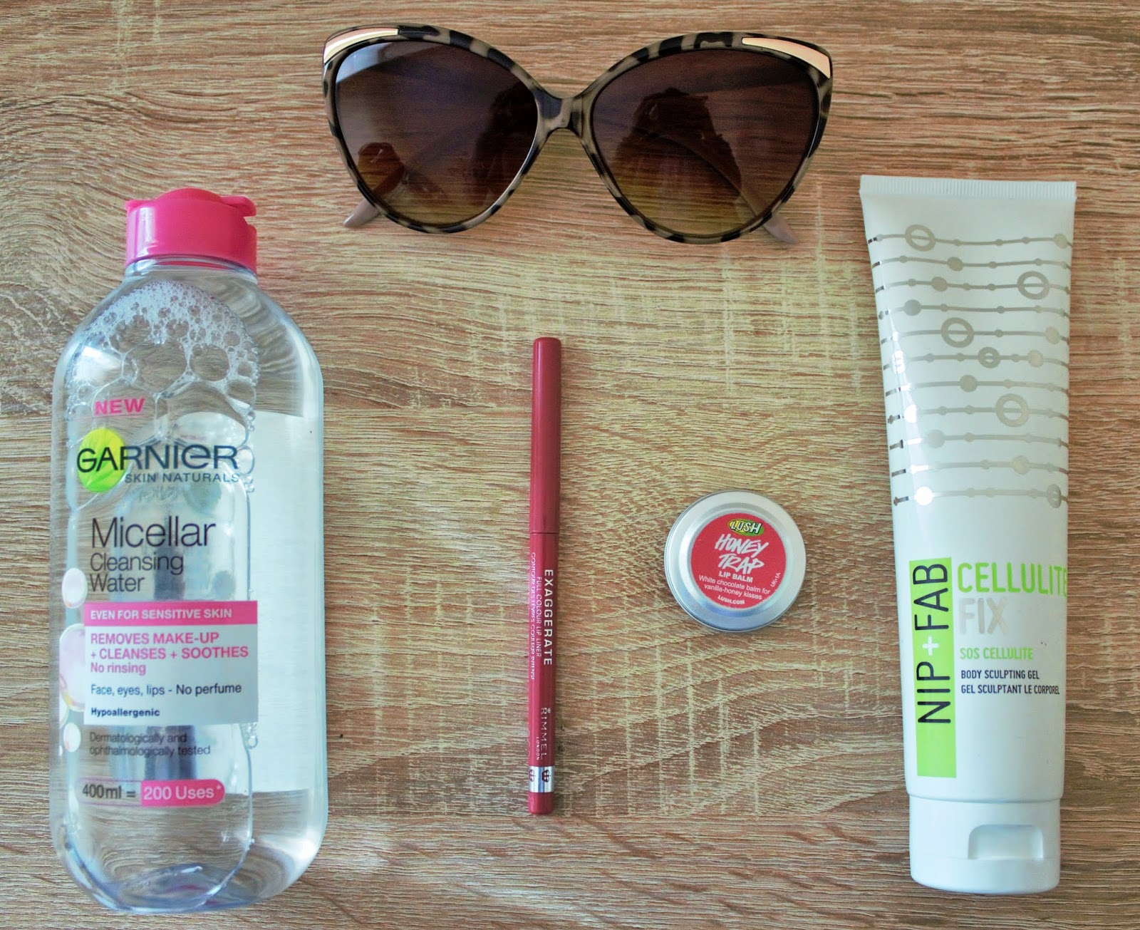 April Favourites - Garnier Micellar Water, Rimmel Exaggerate Lip Liner in Eastend Snob, Lush Honey Trap Lip Balm, Nip+Fab Cellulite Fix Body Sculpting Gel, River Island Cat Eye Sunglasses