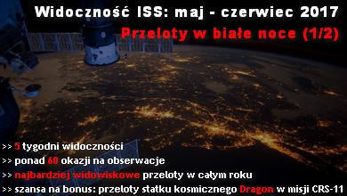 Widoczność ISS: maj - czerwiec 2017 - przeloty w białe noce (1/2)