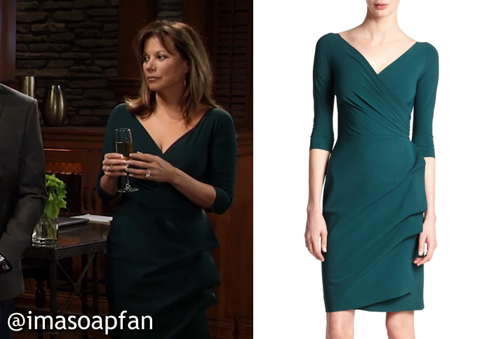 Alexis Davis's Forest Green V-neck Dress - General Hospital