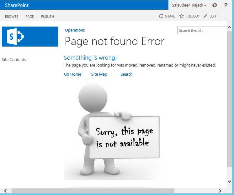 sharepoint custom page not found 404 error