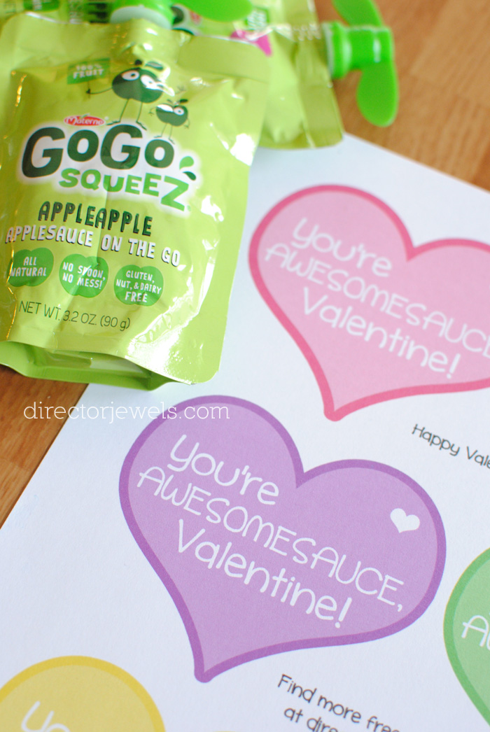 You're Awesomesauce, Valentine - Non-Candy Applesauce Pouch Classroom Valentine Idea + Free Printable at directorjewels.com