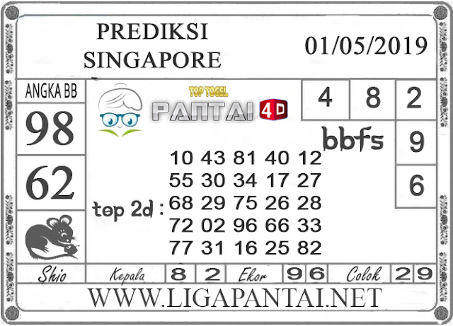 """Prediksi Togel """"SINGAPORE"""" PANTAI4D 01 MEI 2019"""