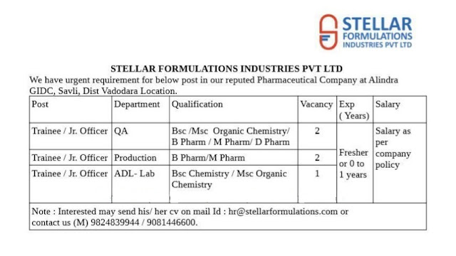 Pharmajobs: Stellar Formulations Industries Pvt Ltd