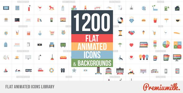 قالب افتر افكت مجاني - 1200 ايقونة فلات متحركة احترافية رائعة مع خلفيات للافتر افكت CS5 - CC 2015