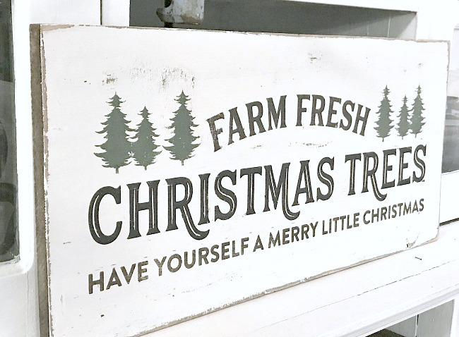 Fresh cut Christmas tree sign on reclaimed wood