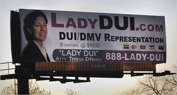 copyranter: The Sketchiest Local Lawyer Billboards.