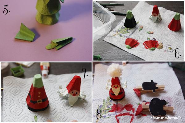 Decorazioni natalizie con il riciclo creativo dei cartoni delle uova