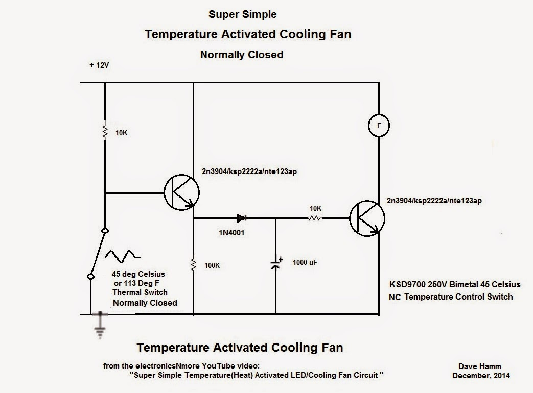 super simple temperature heat activated led cooling fan circuit from electronicnmore [ 1043 x 770 Pixel ]