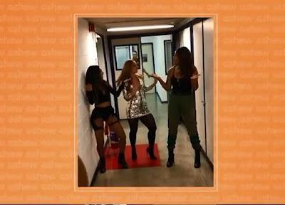 Paolla Oliveira aprende coreografia com Ludmilla e Brunna — Foto: Gshow