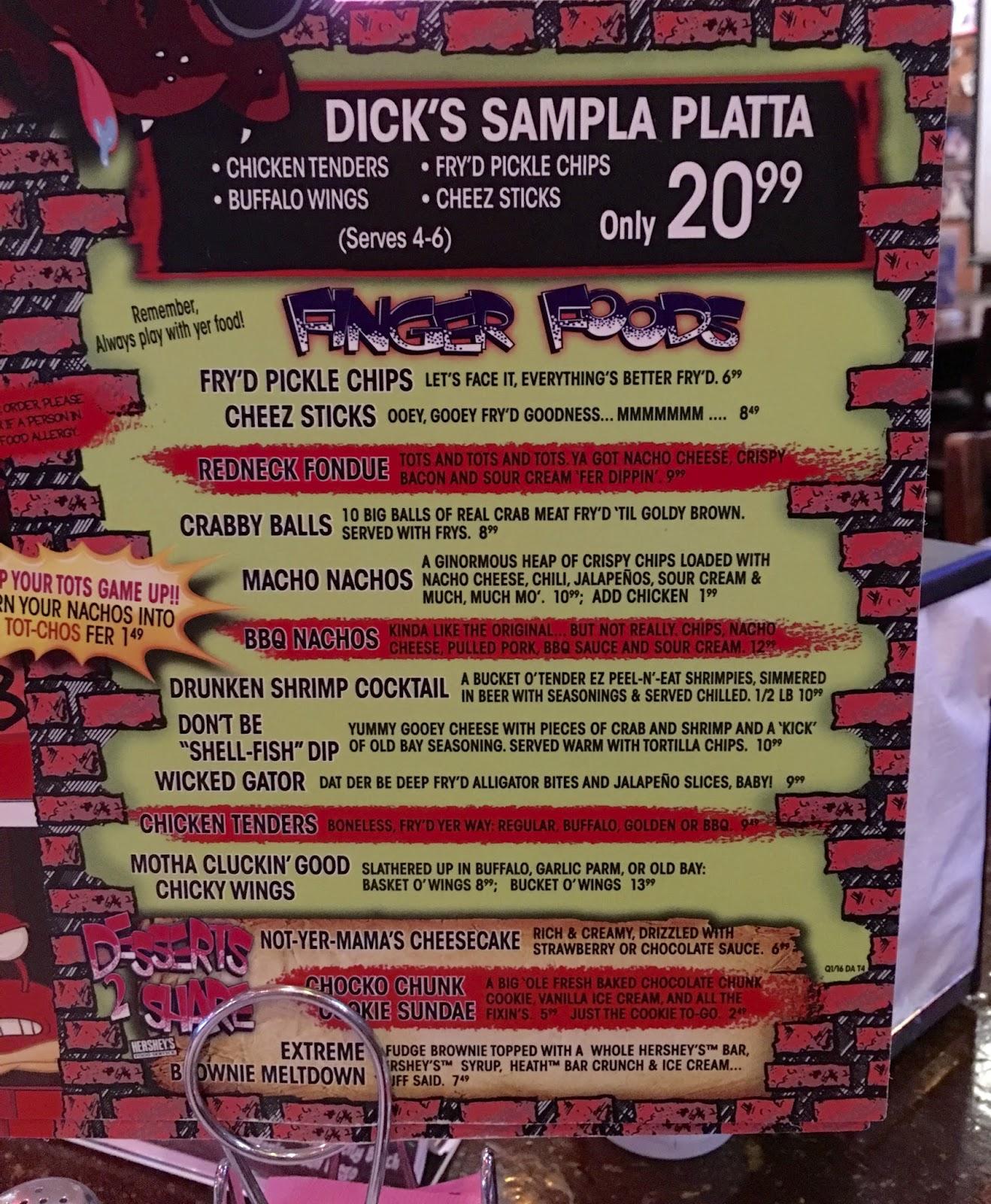 dicks restaurant menu