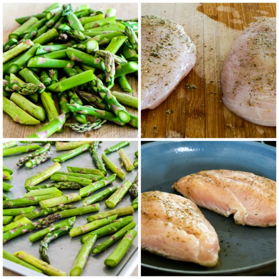 Chicken and Roasted Asparagus with Tahini Sauce found on KalynsKitchen.com.