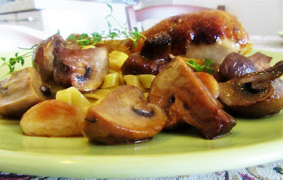 Chicken drumstick with mushrooms