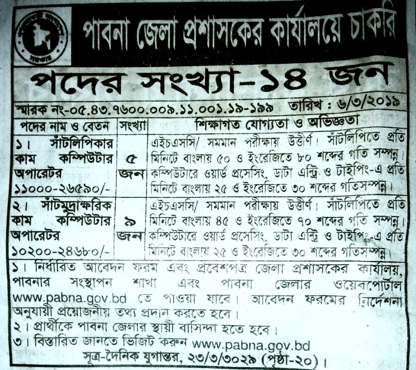 Pabna District Administrative office job circular 2019 পাবনা জেলা প্রশাসকের কার্যলয় নিয়োগ বিজ্ঞপ্তি ২০১৯