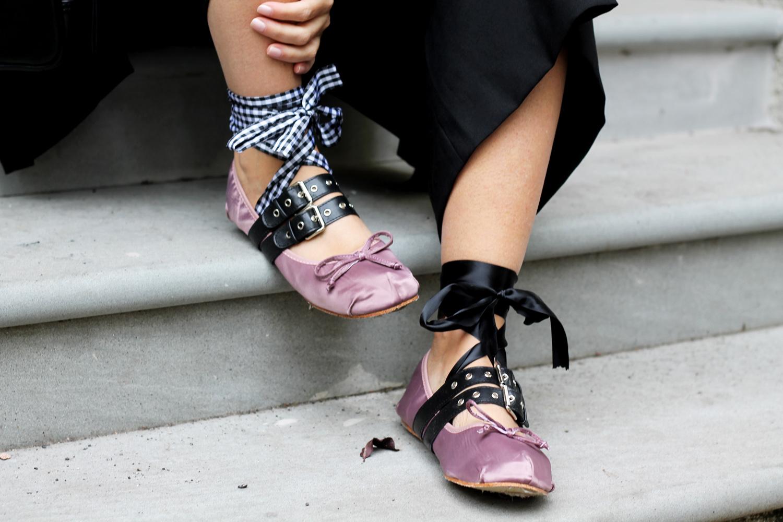ballerine rosa con lacci blogger