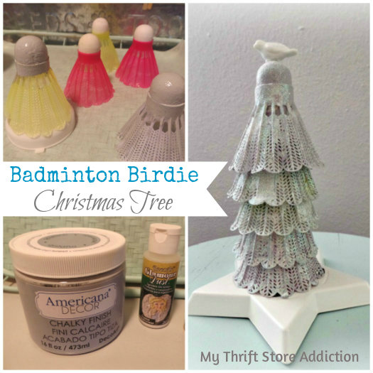 Friday's Find: Thrifty Transformations mythriftstoreaddiction.blogspot.com  Repurposed Badminton Birdie Christmas tree