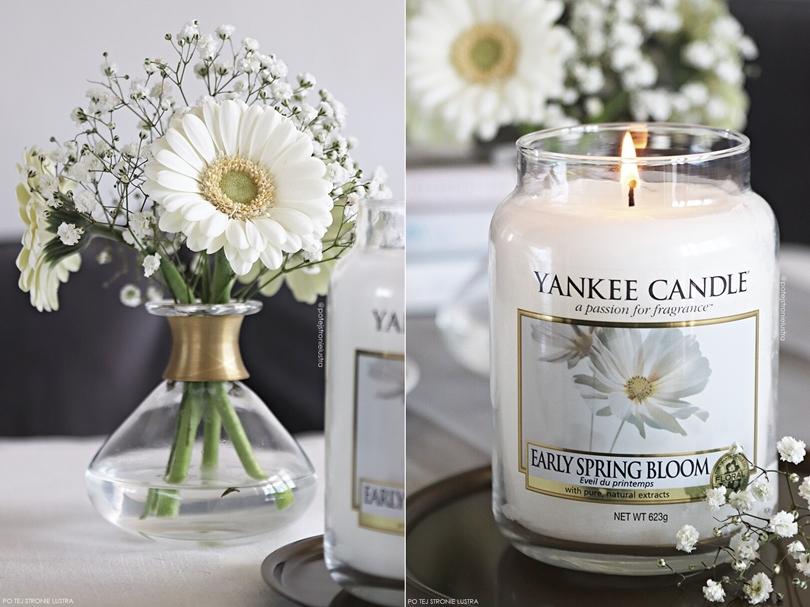 jasne gerbery, gipsówka i biała świeca yankee candle