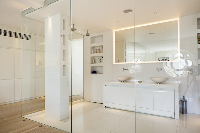 Picture of modern minimalist bathroom with glass walls