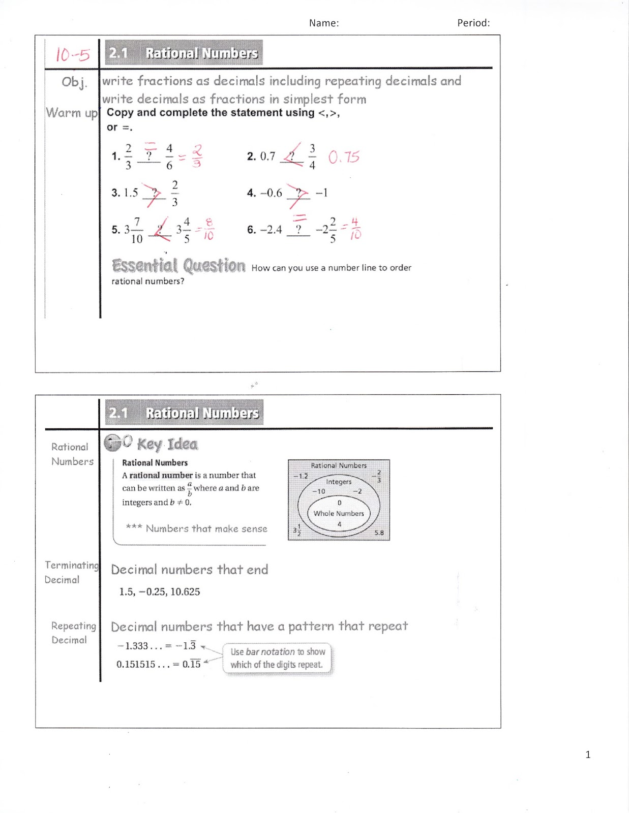 Ms Jean S Classroom Blog Math 7 2 1 Rational Numbers