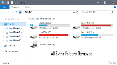 Remove Extra Folders from Windows 10 Explorer