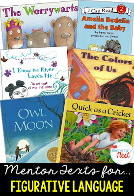 Primary mentor text suggested book list for Figurative Language- stories with personification, similies, metaphors, and alliteration- RL3.4