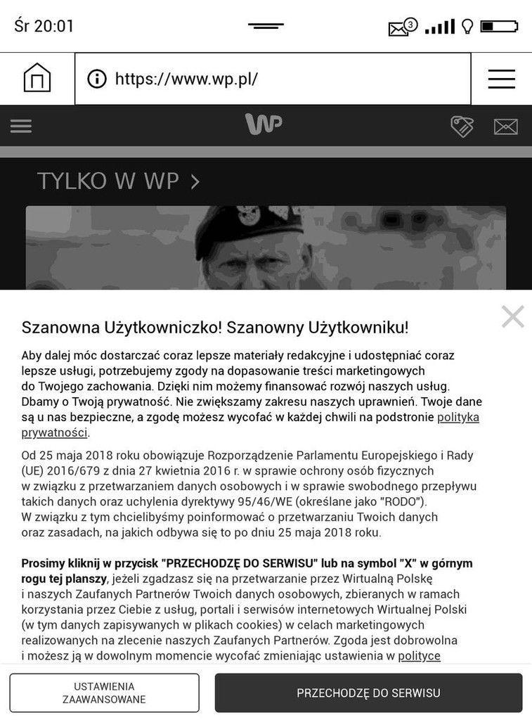 Przeglądarka w PocketBook Touch HD 3 – komunikat o RODO na wp.pl