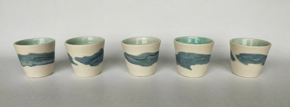 Blue/Green Espresso Cups Handmade