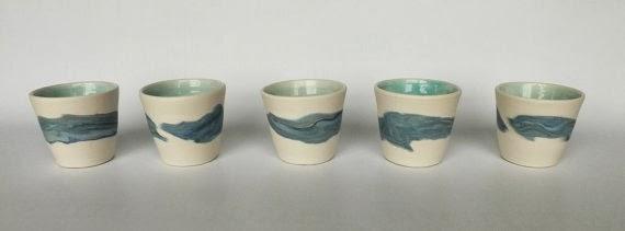 Blue/Green Espresso Cups Handmade