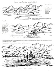 draw lake mountain drawing drawings printable pencil easy dessin worksheet worksheets apprendre island reference landscape landscaping sketch artist lessons coloring