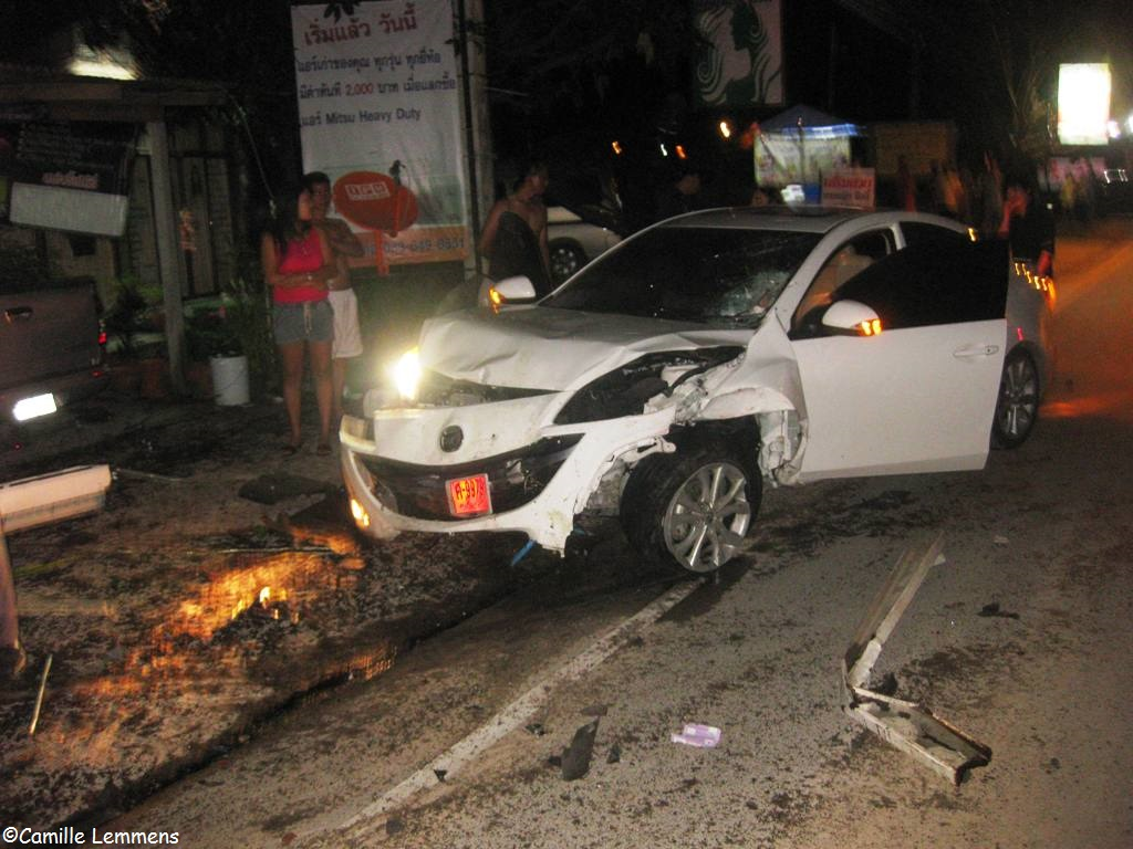 Car accident on koh samui thailand