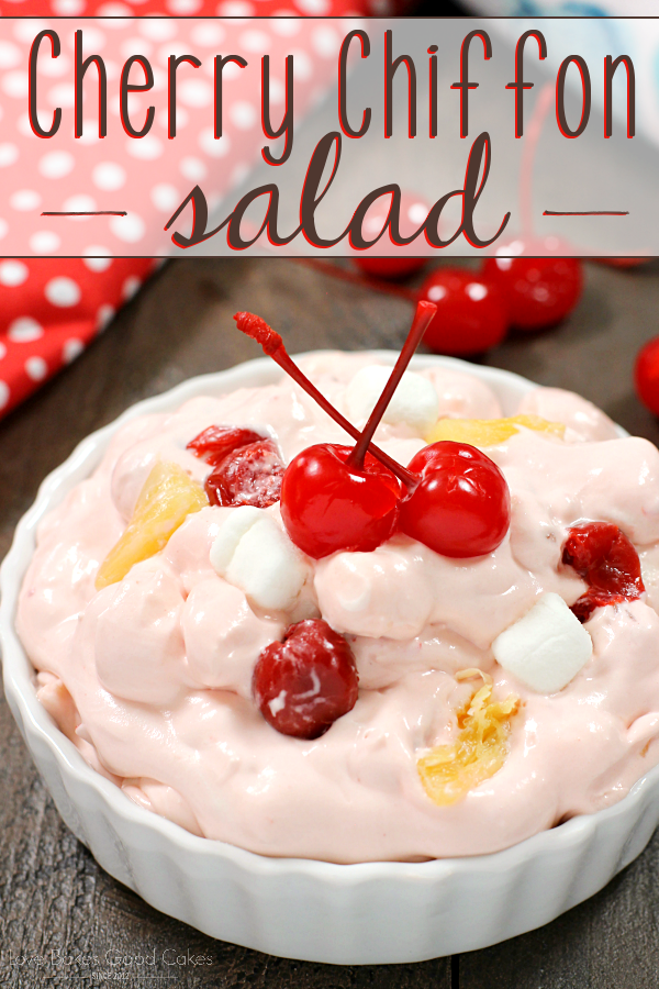 This Cherry Chiffon Salad makes a great addition to potlucks and summer barbecues! It's can be served as a side dish or a dessert!