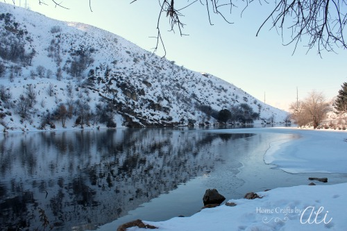 winter pond at canyon entrance park logan utah
