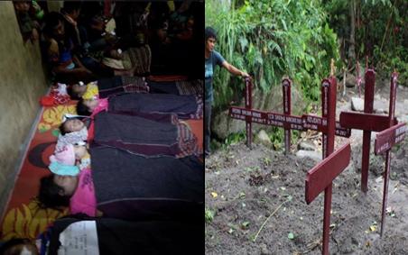 Buttu Banjarnahor, salah seorang keluarga korban mengajak wartawan ke lokasi pemakaman sembilan jasad korban.