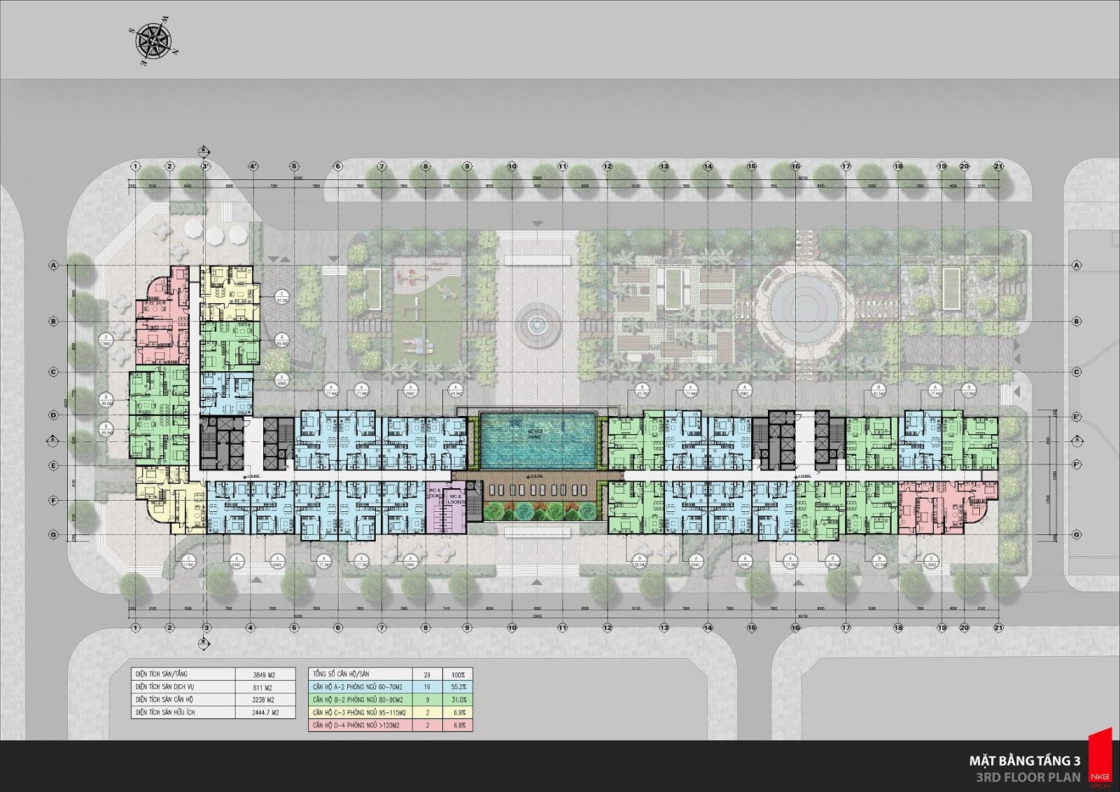 Mặt bằng thiết kế sàn căn hộ tầng 3