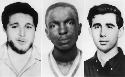 These three young civil rights workers were working to register black voters in Mississippi when abducted and slain by the KKK. Local Democratic officials, including the sheriff, and the deputy sheriff of the County conspired to cover up the murders.