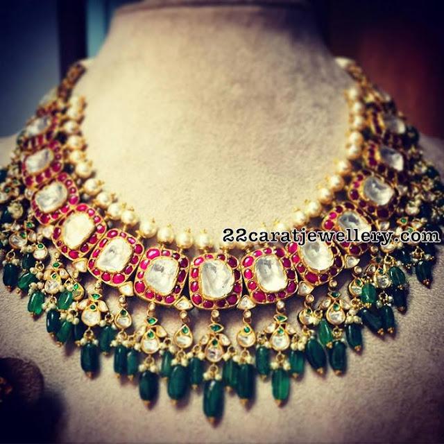 Kundan Polki Choker with Emerald Drops